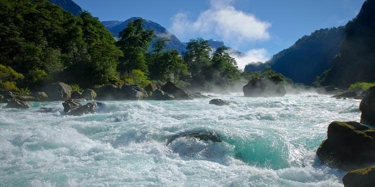 rapids with stones
